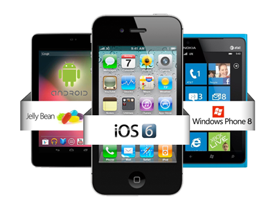 iOS 6, Android 4.1 Jelly Bean, Windows Phone 8