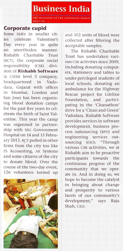 Business India - RSPL CSR Activity