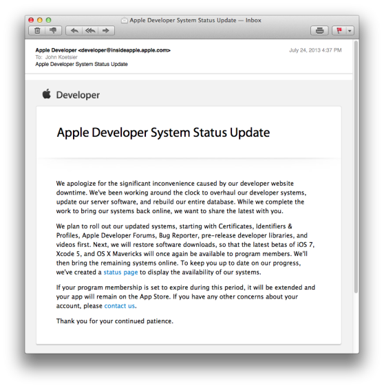 Apple developer System Status Update