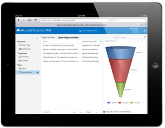MS Dynamics CRM App for iPad