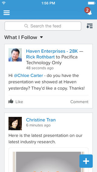Salesforce1 Mobile App Screenshot 1
