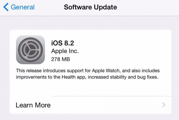 Apple iOS 8.2 Update Released