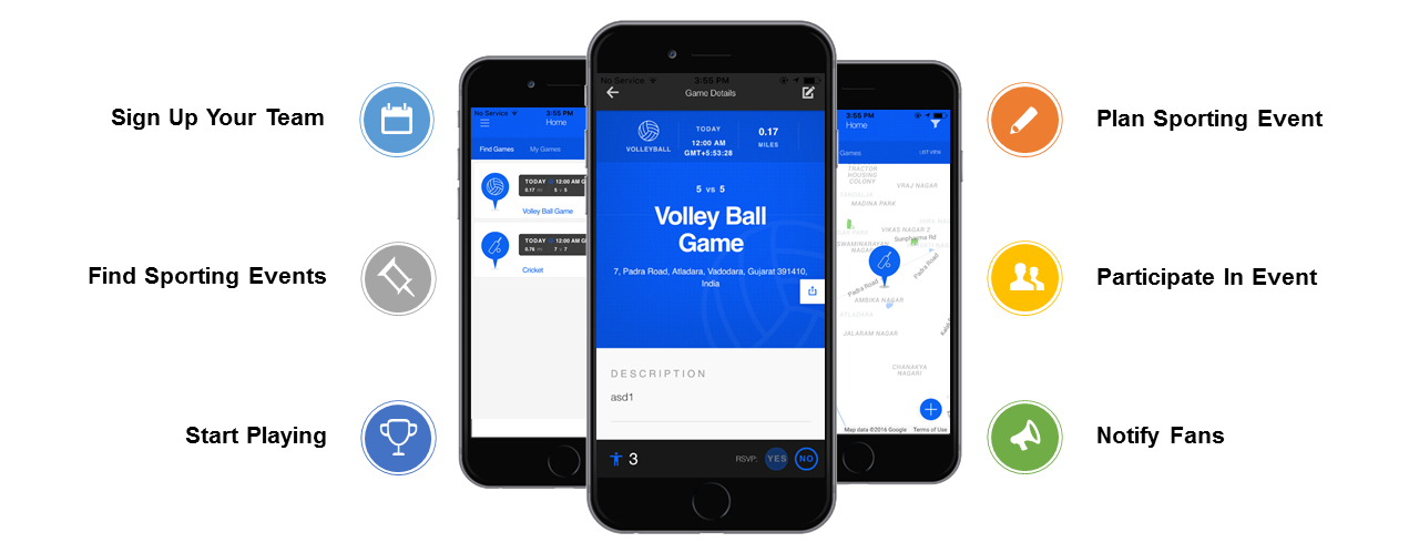 Local sports event planning app development using PhoneGap with PHP