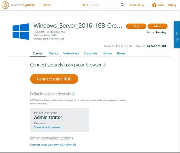 Windows Virtual Server Support For AWS Lightsail
