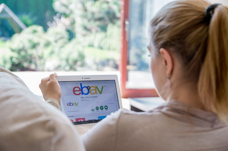 Wroclaw, Poland- April 10Th, 2017: Woman Is Installing Ebay App