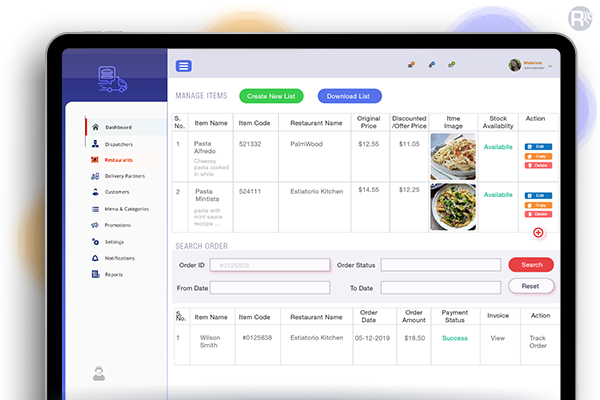 Restaurant Food Ordering App Dashboard