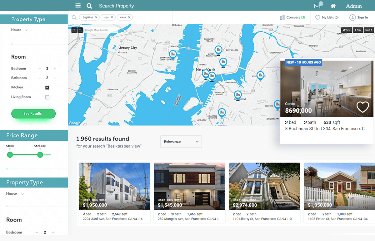 Real Estate Web Development - Search and Property Listing Screen