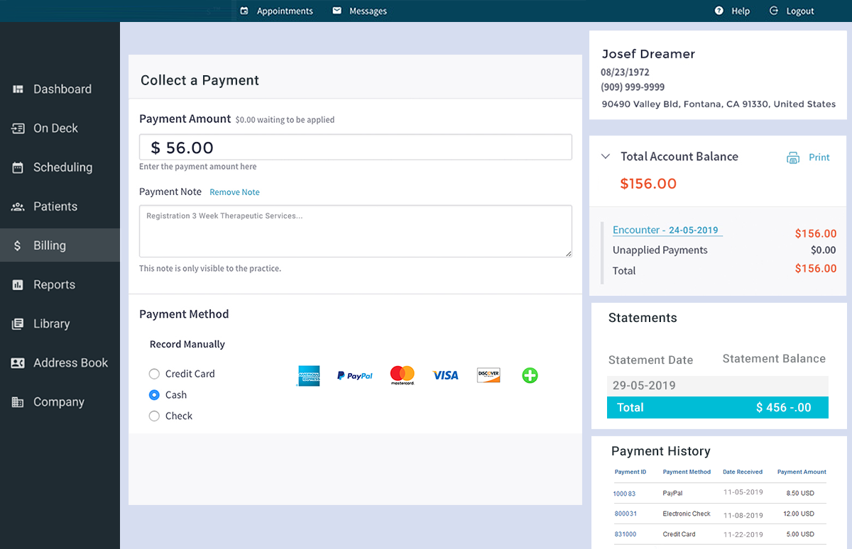 Medical Practice Management System – Billing & Payment Module Screenshot