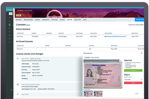 driving license process management solution licenses dashboard