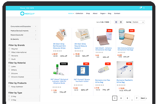 User Interface of Medical Supply Store
