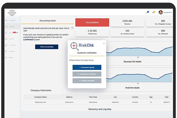 Real-time internal fraud check and verification application dashboard